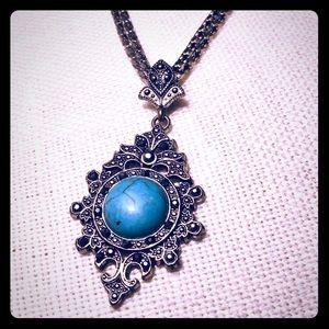 Vintage Silver Marcasite necklace & earring set